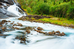Waterfall in the Valley of waterfalls in Norway Stock Image