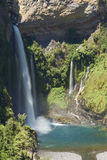 Waterfall Velo de la Novia - Maule,智利 免版税库存照片