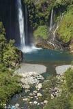 Waterfall Velo de la Novia - Maule, Chile. Waterfall Velo de la Novia Bride`s Veil in Parque Nacional Radal Siete Tazas in Maule, Chile Royalty Free Stock Image