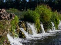 Waterfall Ventas Rumba on river Venta at Kuldiga, Latvia, selective focus, shallow DOF stock photography