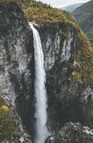 Waterfall Vettisfossen landscape in Norway aerial view stock image