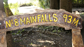 Waterfall Victoria sign , Zimbabwe,  Africa. Royalty Free Stock Photo