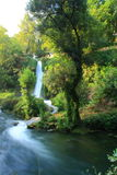 Waterfall view in duden with green trees Stock Photo