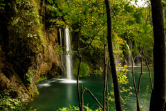 Waterfall view from the Forest, in Plitvice, Croatia Royalty Free Stock Image