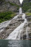 Waterfall view in Norway summer trip. Nature attractions in europe - waterfall and landscape Royalty Free Stock Photo