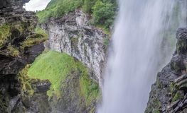 Waterfall view in Norway summer trip. Nature attractions in europe - waterfall and landscape Stock Image