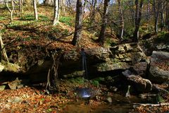 Waterfall in deep forest in the nearest village stock images