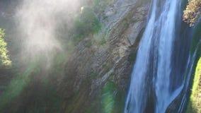 Waterfall in villa gregoriana stock footage
