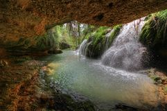 Waterfall in Vinalopo river. HDR image. Royalty Free Stock Photography