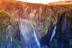 Waterfall Voringfossen. The fourth highest peak in Norway Stock Photos