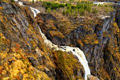 The waterfall Voringfossen, view from the top, Norway Stock Images