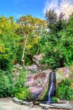 Waterfall in Vorontsov Park in Alupka, Crimea. Waterfall in Vorontsov Park in Alupka - Crimea, Europe royalty free stock photo