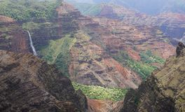 Waterfall in Waimea Canyon stock images