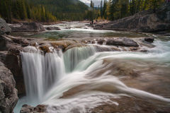 Waterfall. A water fall in the wilderness with conifers on both banks Stock Photography