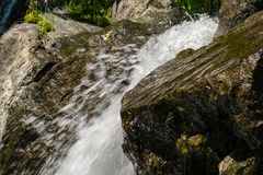 Waterfall water nature. Falling river flowing outdoors royalty free stock photo