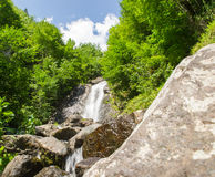 Waterfall water nature. Falling river flowing outdoors stock image