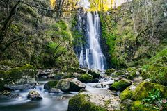 Waterfall, Water, Nature, Vegetation royalty free stock photography