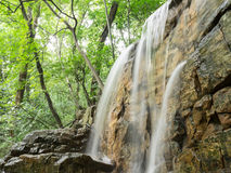Waterfall. The water roared down the chute.Waterfall in the woods Royalty Free Stock Photography