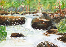 Waterfall  watercolor painted Royalty Free Stock Photo