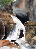 Waterfall watercolor painted Stock Photography