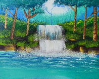 Waterfall watercolor painting. Watercolor painting of nature waterfall royalty free stock photos
