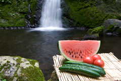 Waterfall and watermelon and vegetables Royalty Free Stock Photo