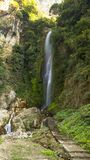Waterfall on the way to Annaourna circuite tal Nepal stock photography