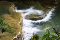 Waterfall white gush leaves Royalty Free Stock Photography