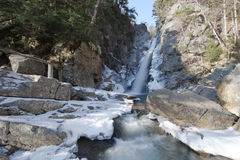 Waterfall winter. Winter shot of glen ellis water fall in pinkham notch new hampshire with wide angle perspective Stock Image