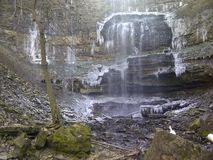 Waterfall in winter. Waterfall iced over in winter Stock Photos