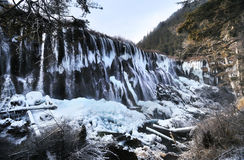 Waterfall in Winter, Jiuzhaigou, China Royalty Free Stock Photography