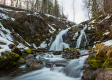 Waterfall in the winter. Long exposure of waterfall in the winter stock photo
