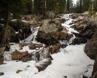 Waterfall in Winter. A waterfall near Nederland, Colorado in Winter.  Along the trail to Lost Lake, above Eldora Stock Photography