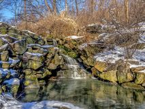 Waterfall in winter. Waterfall,rushing water in Central Park New York City in winter after snow Stock Image