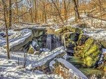Waterfall in winter. Waterfall,rushing water in Central Park New York City in winter after snow Stock Photography