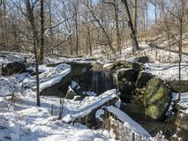 Waterfall in winter. Waterfall,rushing water in Central Park New York City in winter after snow Stock Photo