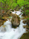 Waterfall With Stone In Centre Royalty Free Stock Photo