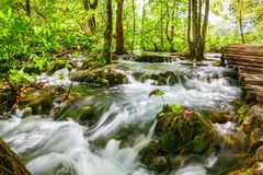 Waterfall in the woods of Plitvice Stock Photography