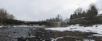 Waterfall Yagala in Estonia in winter. Panorama Stock Image