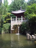 Waterfall in the yard of small goose pagoda. There are many pavilions in the yard of Small goose pagoda in Xi'an,but the pavilion with waterfall is the one only stock images