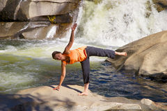 Waterfall Yoga Practice Royalty Free Stock Photography
