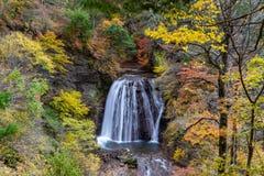 Yokoya Gorge waterfall in autumn stock images