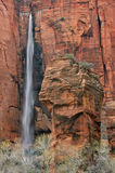 Waterfall Zion National Park Stock Photo
