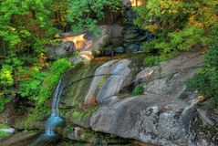 Waterfalls. Place a small waterfall, a forest Stock Photo