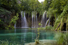 Waterfalls. With blue pond in national park of plitvice Royalty Free Stock Photo