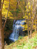 Waterfalls. Surrounded by golden trees in the fall stock image