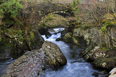 Waterfalls on the Afon Llugwy at Pont Cyfyng bridge Stock Photos