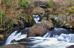 Waterfalls on the Afon Llugwy at Pont Cyfyng bridge Stock Photo