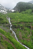 Waterfalls along the Going to the Sun Road. In Glacier National Park Stock Photos