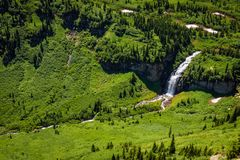 Waterfalls along the Going to the Sun Road in Glacier National Park. Beautiful view of waterfalls along the Going to the Sun Road in Glacier National Park Royalty Free Stock Images